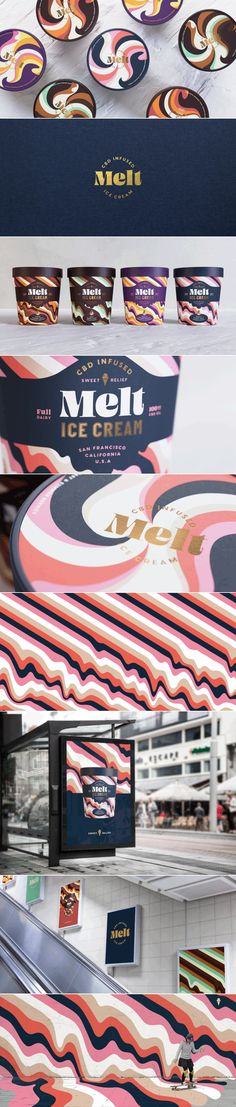 Branding Melt CBD infused ice cream brand identity and package design by Hunger Brand Identity Design, Design Agency, Logo Design, Branding Agency, Logo Branding, Business Branding, Corporate Branding, Ice Cream Brands, Grafik Design