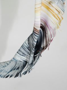 Sculpture made of small dyed pieces of paper by Lison Barbier