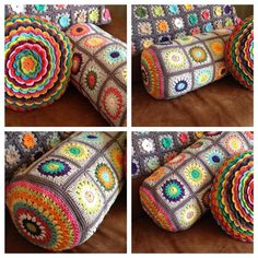 could use any granny square pattern Más Crochet Home, Diy Crochet, Crochet Crafts, Yarn Crafts, Crochet Projects, Crochet Cushions, Crochet Pillow, Crochet Squares, Crochet Granny