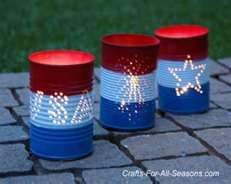 "4th of July craft ideas, 4th of July party ideas, 4th of July ... We could do this and spell ""happy birthday dad"" in the cans and put them along the top of her back wall! :)"
