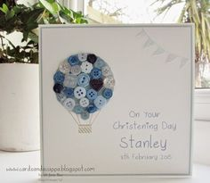 Sarah-Jane Rae cardsandacuppa: Using Stampin' Up's Celebrate Today for a Button Balloon. Christening Cards For Boys, Baptism Cards, Christening Gifts, Naming Day Cards, Christening Invitations, Button Cards, New Baby Cards, Folded Cards, Kids Cards