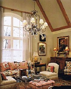 The Wood Beams On Ceiling Iron Chandelier And Innne Checkered Fabrics Makes This Room Cozy Charming Margie Forrest English Country
