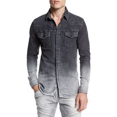 Pierre Balmain Ombre Denim Button-Down Shirt ($615) ❤ liked on Polyvore featuring men's fashion, men's clothing, men's shirts, men's casual shirts and dark gray