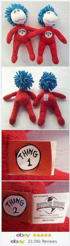 "Dr Seuss Thing 1 & 2 Plush BeanBag Set 7"" Universal Studios Soft Nubby Hair http://stores.ebay.com/Lost-Loves-Toy-Chest"
