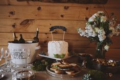Krista and Kristofer's Intimate Mountain Wedding with 4 guests -Wedding cake, finger food and drinks for 4