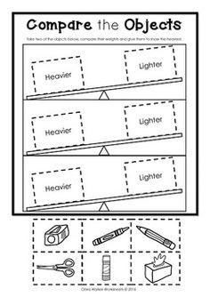 Weight Worksheets- Non Standard Measurement / Kindergarten