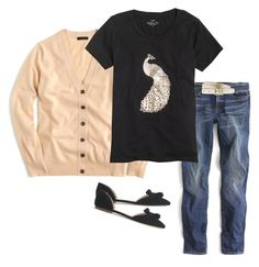 """camel peacock"" by justvisiting ❤ liked on Polyvore featuring J.Crew"