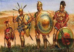 South Italic warriors, 400 BC, art by Giuseppe Rava.