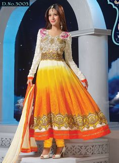 Preetika Rao Embroidered Off White And Yellow Floor Touch Anarkali Suit