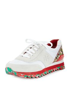 Tory Burch Festival Sawtooth Logo Trainer Sneaker, White/Multi, Women's, Size: 5.5B/35.5B