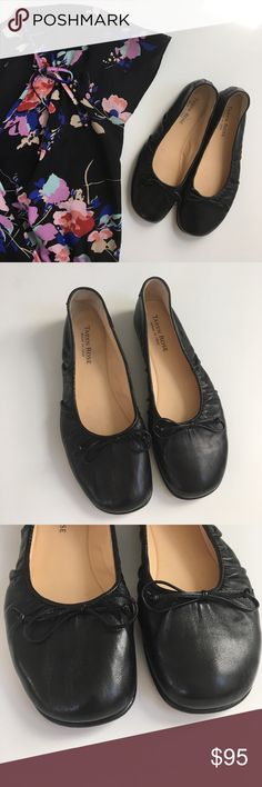 "{ Taryn Rose } flats Taryn Rose Flats. Soft leather upper with a ballet shoe look to it but it has a form bottom, with a comfy .5"" heel., black with a top trim and bow accent. Previously worn but in great condition! Taryn Rose Shoes Flats & Loafers"