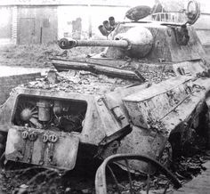 Engine compartment details evident on this destroyed SdKfz 234/2 abandoned at Normandy during 1944
