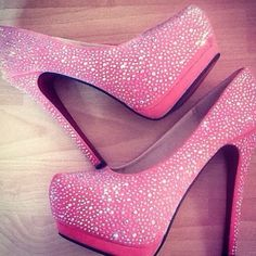 Sparkly hot pink heels.