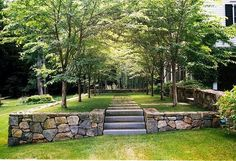 Garden design - create level ground to east of Corn Mill to act as retaining wall.