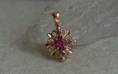 Antique Style Rose Gold Pendant with Old Mine Tourmaline and Pink Sapphire
