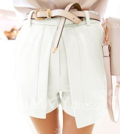 $8.65 Casual Ruffled Big Pocket Candy Color Shorts For Women