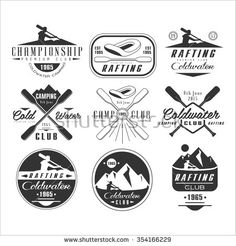 Kayak and canoe emblems, badges and design elements vector set - stock vector