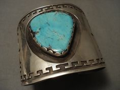 One Of The Biggest Ever Vintage Hopi/ Navajo Geometric Turquoise Silver Bracelet