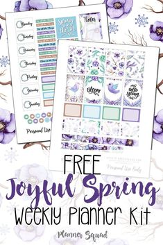 Celebrate the season with this free Joyful Spring Weekly Planner Kit. Gorgeous way to get your planners ready for Spring. #weeklyplannerkit #plannerkit #planners #plannerprintables