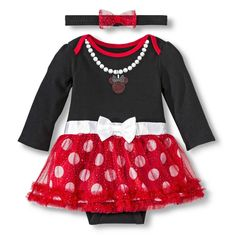 Disney� Newborn Girls' Minnie Mouse Skirted Bodysuit with Headband - Red/Black