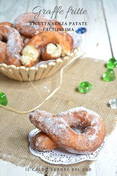 Easy recipe no fried potato braces - Il caldo sapore del sud - Krapfen Italian Cake, Italian Cookies, Italian Pastries, Yummy Food, Tasty, Beignets, Food Festival, Food Illustrations, Fritters