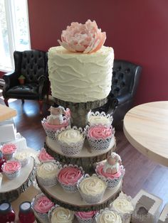 cupcake tower with cake on top rustic - Google Search