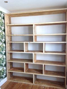 Ikea Storage Shelves, Ikea Craft Storage, Craft Storage Furniture, Wood Storage, Storage Design, Wood Shelves, Reclaimed Wood Bookcase, Reclaimed Furniture, Large Furniture