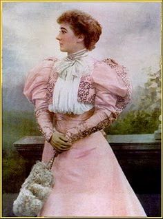 1895 Pink Mary Moore traveling suit