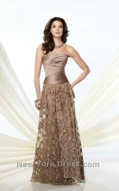 Strapless A-line dress with pleated satin bodice,  and burn-out satin skirt overlay