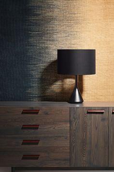 Don't be dim. Flask Table Lamp, Shale 2 Door / 4 Drawer Dresser and Delta Rug. 2013. #modernlamp #moderndresser #modernstorage