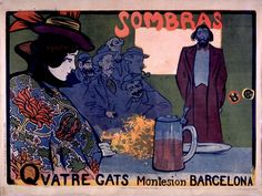 """Cartel original de Ramón Casas anuncio de la taberna Modernista """"Els 4 Gats""""..."""