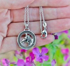 Charm Necklace - .925 Sterling Silver Chain - Horse Head Round Pendant - Pony Equine Lover Gift