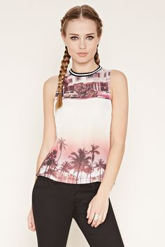 A sleeveless knit top with a striped crew neckline and a semi-sheer chiffon-paneled front featuring a large beach graphic.