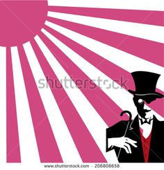 gentleman under the purple sun vector illustration - stock vector