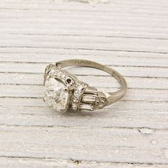 Vintage Cushion Cut Diamond Engagement Ring