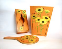 Sunflower Orange Shabby Chic Appliqué by EclecticWhimsyShoppe