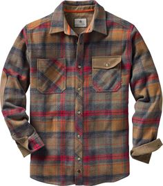 NEW BANDED GEAR SOFT SHELL PLAID FLANNEL LONG SLEEVE SHIRT OLIVE MEDIUM