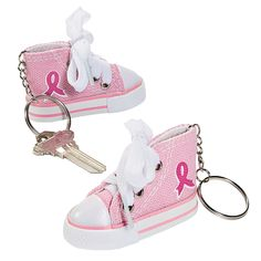 Pink Ribbon Tennis Shoe Key Chains | These pink ribbon key chains are thoughtful handouts for breast cancer awareness walks as well as fun little pink ribbon fundraiser items. #pinkribbon
