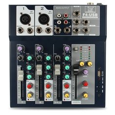 Digital Bluetooth 4-Channel Mic Line Audio Mixer Mixing Console 3-band EQ with 48V Phantom Power USB Interface for Recording DJ Stage Karaoke