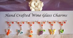 Wine Glass Charms - Garden Themed Wine Glass Charms - Gift Ideas - New Home Gift £9.99 Wine Glass Charms, Swarovski Pearls, New Home Gifts, Mother Day Gifts, Bridal Accessories, Teacher Gifts, Birthday Gifts, Christmas Gifts, New Homes