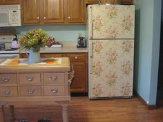 IMG_3026    yup, I wallpapered my refrigerator.    I found this really vintage paper and I love it!