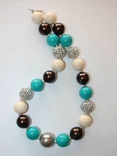 """20"""" Bubble Gum Bead Necklace- Silver, Teal, Cream and Brown on Etsy, $16.00"""