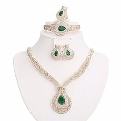 Moochi 18K Gold Plated Green Zircon Crystal Ebmedded Hollow Chain Jewelry Set * You can find out more details at the link of the image.