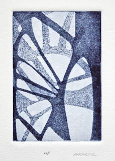 """Janet Hamrick, Palm,  Etching on  Rives Paper,  2006, 4.25x3"""" on 8x6"""" paper matted to 10x8"""" Edition of 3. and 1 Artist Proof"""