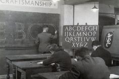 Sometimes I wish I was born in this time period... Sign painting school.