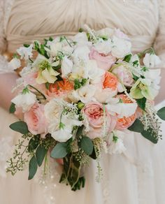 Garden Roses, Sweet Peas, Freesia, Seed Eucalyptus and Muscari Bouquet by http://bellafloraofdallas.com