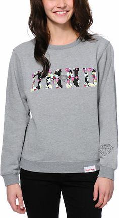 Diamond Supply Co. DMND Floral Fill Grey Crew Neck Sweatshirt at Zumiez : PDP