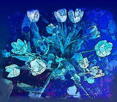 Nieuw in mijn Werk aan de Muur shop: Tulpen in het blauw