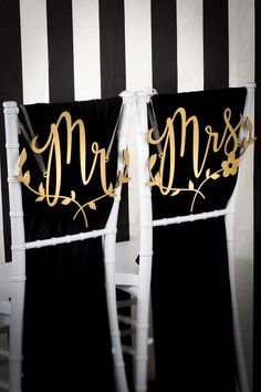 Mr & Mrs Floral Branch Chair Signs