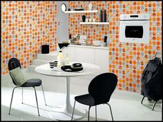 Schon Kitchen:Orange Kitchen Wallpaper Orange Kitchen Wallpaper With Dining Set